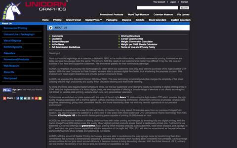 Screenshot of About Page unicorngraphics.com - About Us - Unicorn Graphics - captured Oct. 7, 2014