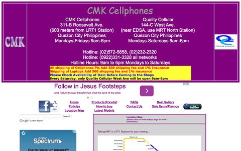 Screenshot of Maps & Directions Page cmkcellphones.com - Location Map of CMK CELLPHONES and Quality CELLULAR PHONE CENTER QUEZON CITY PHILIPPINES - captured Feb. 20, 2016