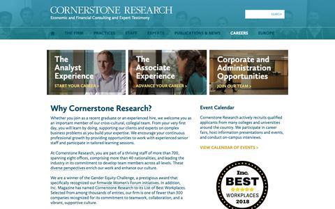 Screenshot of Jobs Page cornerstone.com - Careers | Cornerstone Research - captured Sept. 29, 2018