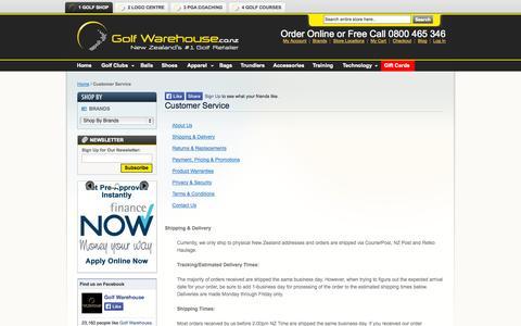Screenshot of Support Page golfwarehouse.co.nz - Customer Service   Golf Warehouse New Zealand - captured Sept. 30, 2014