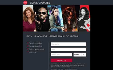Screenshot of Signup Page mylifetime.com - Email Update Signup | Lifetime - captured June 20, 2017