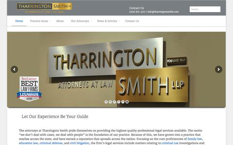 Screenshot of Home Page tharringtonsmith.com - Tharrington Smith LLP | - captured Feb. 14, 2016
