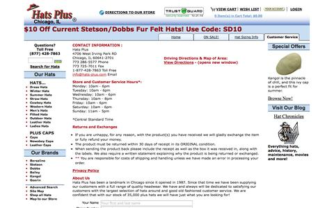 Screenshot of Privacy Page Support Page hats-plus.com - Hats Plus Ltd - Contact Us - captured Nov. 1, 2014
