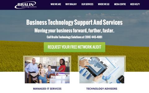 Screenshot of Home Page bralin.com - Computer Services   Computer Support   IT Solutions - captured Sept. 13, 2015