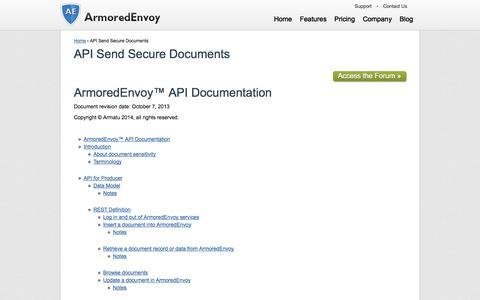 Screenshot of Support Page armoredenvoy.com - API Send Secure Documents - captured Sept. 30, 2014