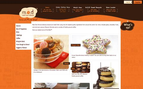 Screenshot of Menu Page madoverdonuts.com - :.: M.O.D Mad Over Donuts :.: Menu - captured Feb. 13, 2016