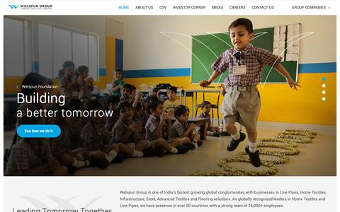 Screenshot of Home Page welspun.com - Globally recognized leaders in Home Textiles and Line Pipes  - Welspun Group - captured May 24, 2019