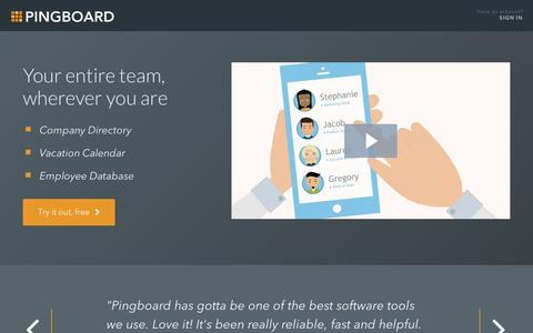 Screenshot of Home Page pingboard.com - Employee Directory and Address Book Software | Pingboard - captured Sept. 12, 2014