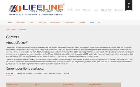 Screenshot of Jobs Page lifelinecelltech.com - Employment at Lifeline Cell Technology - captured Nov. 7, 2016