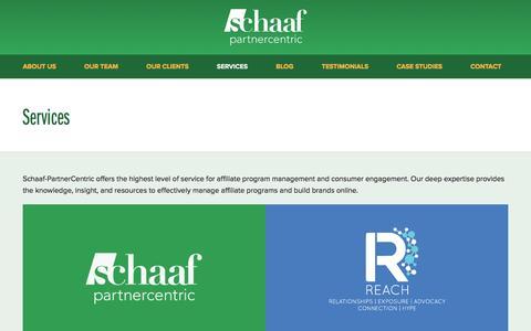 Screenshot of Services Page schaafpc.com - Services - Schaaf Partner Centric - captured Jan. 26, 2016
