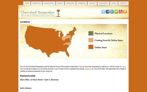 Screenshot of Locations Page cherishedkps.com - Locations | Cherished Keepsakes-Funeral Programs & More... - captured Oct. 1, 2014