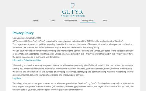 Screenshot of Privacy Page gltyr.com - Create and Share Video Ads on the Go from Your Phone : Gltyr - captured Dec. 6, 2015