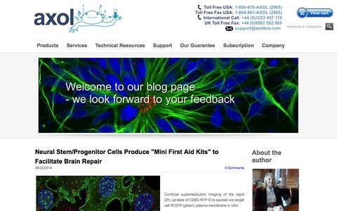 Screenshot of Blog axolbio.com - Axol Bioscience - Axol Blog: Expert opinions and neuroscience news and views. - captured Oct. 4, 2014