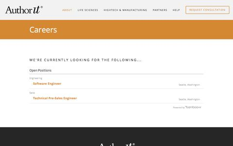 Screenshot of Jobs Page author-it.com - Careers and Jobs — Author-It - captured Sept. 22, 2018