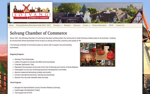 Screenshot of About Page solvangcc.com - About the Solvang Chamber of Commerce - Solvang Chamber of Commerce - captured Oct. 21, 2018