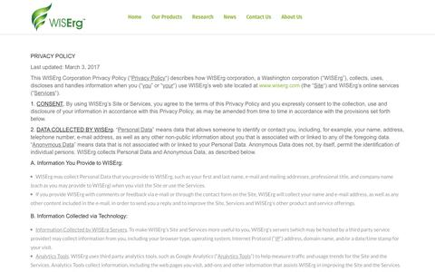 Screenshot of Privacy Page wiserg.com - Privacy Policy – WISErg - captured March 2, 2019