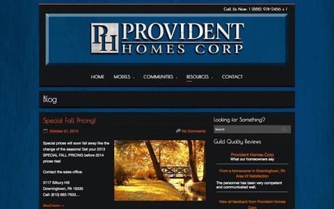 Screenshot of Blog providenthomes.com - Blog   Provident Homes Corp. - captured Oct. 3, 2014