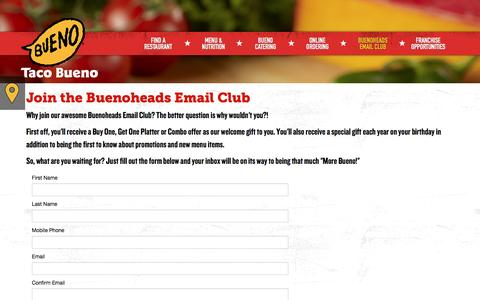 Screenshot of Signup Page tacobueno.com - Buenoheads Email Club - Taco Bueno - captured Jan. 15, 2016