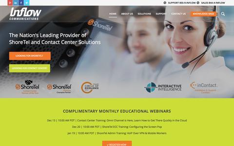 Screenshot of Home Page inflowcomm.com - ShoreTel and Contact Center Solutions - Inflowcomm.com - captured Nov. 26, 2016