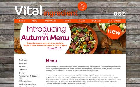 Screenshot of Menu Page vitalingredient.co.uk - Menu - Vital Ingredient - captured Nov. 23, 2015