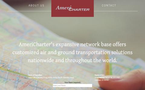 Screenshot of Contact Page americharter.com - Americharter - captured July 25, 2016