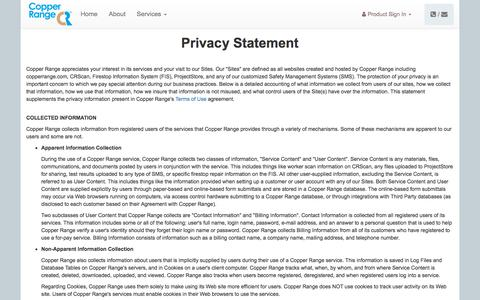 Screenshot of Privacy Page copperrange.com - Copper Range Technologies Inc. - captured July 21, 2018