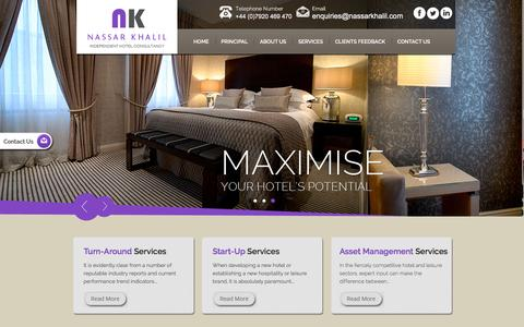 Screenshot of Services Page nassarkhalil.com - Hotel Asset Management Services from Hotel Specialists and Experts - Nassar Khalil and Associates - captured Jan. 16, 2016