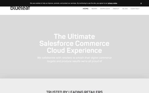 Screenshot of Home Page blue-leaf.co.uk - Blueleaf - eCommerce agency - captured Aug. 26, 2018