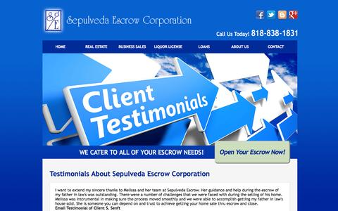 Screenshot of Testimonials Page sepulvedaescrow.net - Client Testimonials | Sepulveda Escrow Corporation | 818-838-1831 - captured Oct. 26, 2014