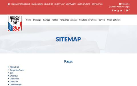 Screenshot of Site Map Page unionbuiltpc.com - Sitemap - Union Built PC - captured Oct. 18, 2018