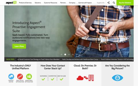 Screenshot of Home Page aspect.com - Your Contact/Call Center Software Solution | Aspect - captured Oct. 10, 2014