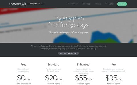 Screenshot of Pricing Page uservoice.com - Pricing | UserVoice - captured Sept. 17, 2014