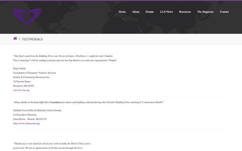 Screenshot of Testimonials Page lovelifenow.org - Testimonials   Love Life Now Foundation, Inc. - captured Feb. 1, 2016