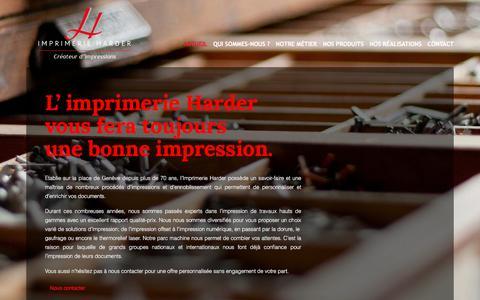 Screenshot of Home Page imprimerie-harder.ch - Imprimerie HARDER, tous travaux d'impression OFSET et numériques - captured March 22, 2017