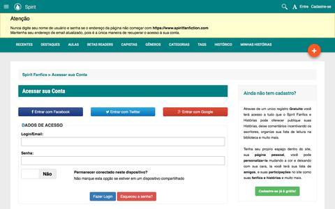 Screenshot of Login Page spiritfanfiction.com - Acessar sua Conta - Spirit Fanfics e Histórias - captured July 6, 2018