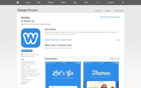 Screenshot of iOS App Page apple.com - Weebly on the App Store on iTunes - captured Oct. 22, 2014