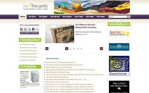 Screenshot of Home Page ecohearth.com - EcoHearth - Environmental Website - captured Sept. 30, 2014