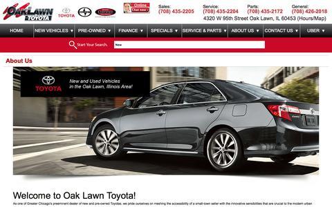 Screenshot of About Page oaklawntoyota.com - About Us - Oak Lawn Toyota - captured Jan. 10, 2016