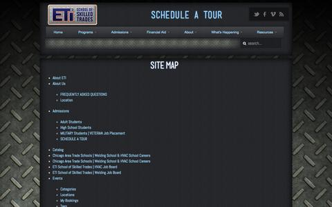 Screenshot of Site Map Page eticampus.com - ETI School of Skilled Trades Site Map | ETI School of Skilled Trades - captured Oct. 1, 2014
