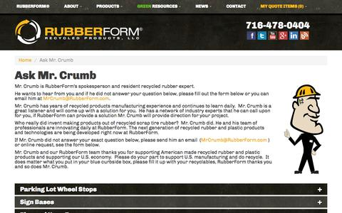 Screenshot of FAQ Page rubberform.com - Ask Mr. Crumb | RubberForm Recycled Products, LLC - captured Oct. 10, 2014