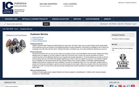 Screenshot of Support Page insigniacollection.com - Customer Service - captured Sept. 30, 2014