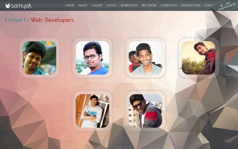 Screenshot of Developers Page klusamyak.com - Samyak 2K16 || WEB DEVELOPERS TEAM - captured March 6, 2016