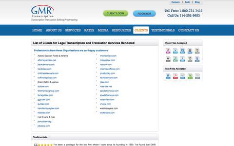 Screenshot of Terms Page gmrtranscription.com - Legal Client - captured Sept. 22, 2014