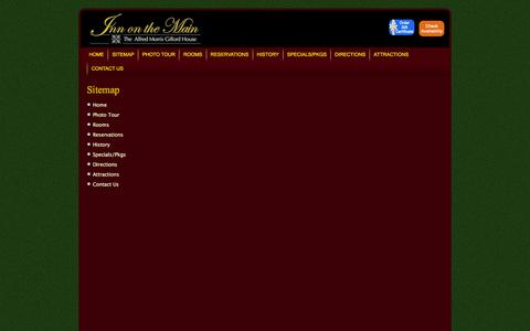 Screenshot of Site Map Page innonthemain.com - Sitemap - Inn On The Main - captured June 19, 2016