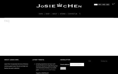 Screenshot of FAQ Page josiechenrange.com - FAQ - Josie Chen Range - captured Jan. 9, 2016