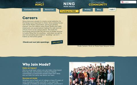Screenshot of Jobs Page ning.com - Careers | Ning.com - captured July 21, 2014