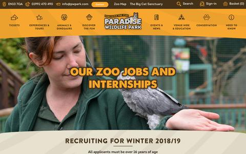 Screenshot of Jobs Page pwpark.com - Our Zoo Jobs and Internships - Paradise Wildlife Park - captured Nov. 21, 2018