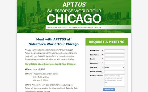 Screenshot of Landing Page apttus.com - Meet with Apttus at Salesforce World Tour Chicago - captured Dec. 4, 2017
