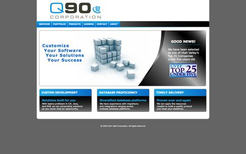 Screenshot of Home Page q90.com - Custom Software Development and Design | Q90 Corporation - captured Oct. 1, 2014