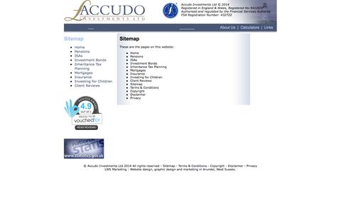 Screenshot of Site Map Page accudo.co.uk - Accudo Investments Ltd - captured Oct. 4, 2014
